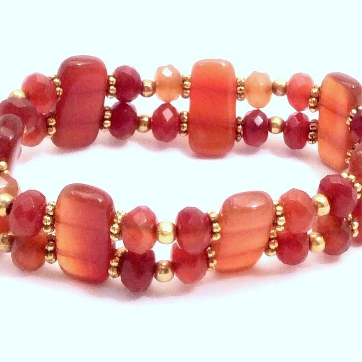 Carnelian double stretch bracelet