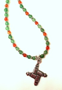 St Brigid's Cross necklace with Carnelian and Aventurine